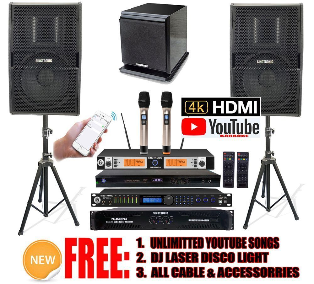 USB RECORDING FREE UNLIMITED YOUTUBE SONGS BLUETOOTH SINGTRONIC COMPLETE PROFESSIONAL 3000W DIGITAL KARAOKE SYSTEM W//HDMI